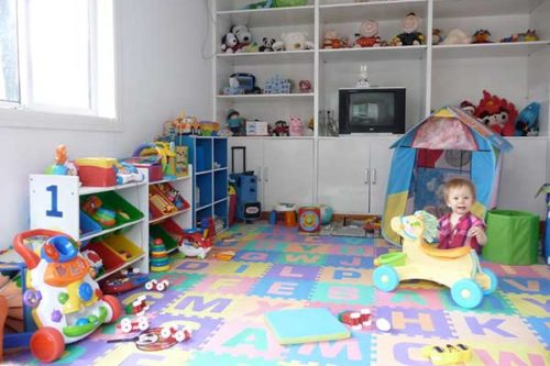 Finished basement with kids playroom
